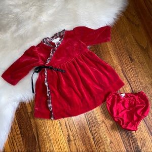 Infant Girl Ralph Lauren Red Velour Dress 6mo